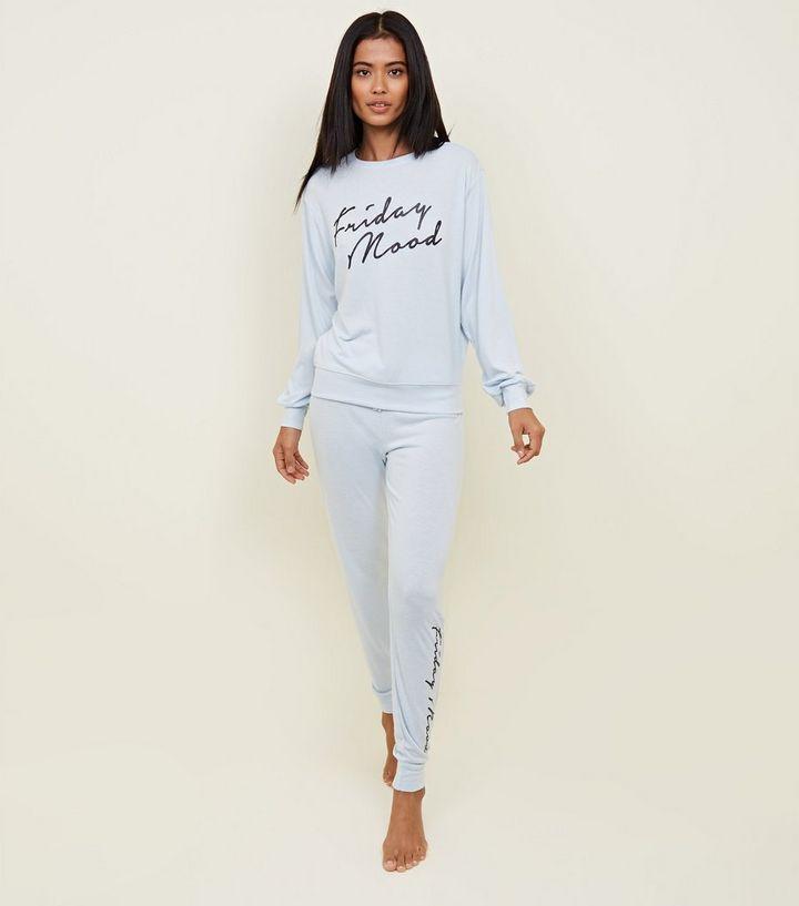 78dab58f9aa Pale Blue Friday Mood Slogan Pyjama Joggers