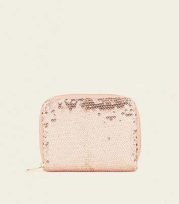 Rose Gold Sequin Zip-Around Cardholder