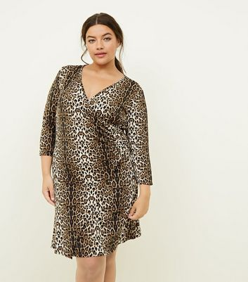 Mela Curves Brown Leopard Print Wrap Dress