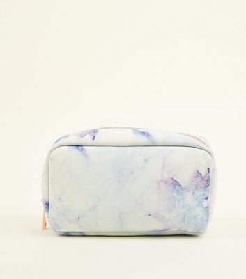 White Marble-Effect Make-Up Bag