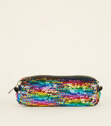 Rainbow 2-Way Sequin Pencil Case