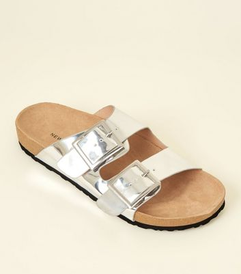 Silver Metallic Double Buckle Footbed Sandals
