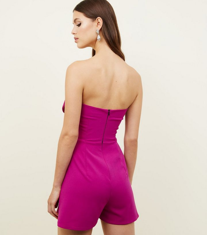 350ca0f28a1 ... Purple Bow Front Strapless Playsuit. ×. ×. ×. Shop the look