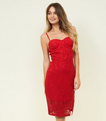 Red Lace Bustier Dress