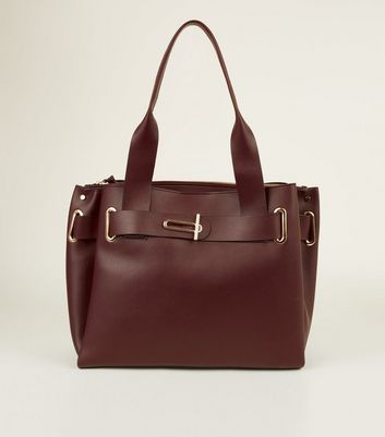 Burgundy Buckle Trim Slouch Tote Bag