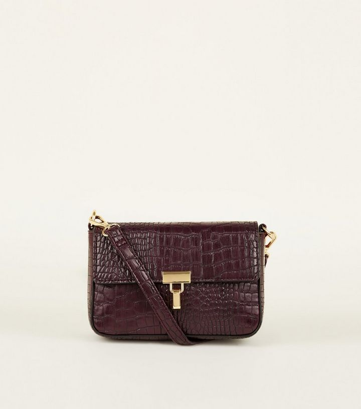 729c4f6545 Burgundy Faux Crocodile Cross Body Bag