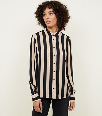 Camel Stripe Collared Button Front Shirt
