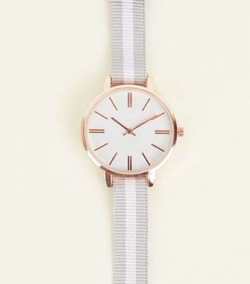 Silver Stripe Strap Watch