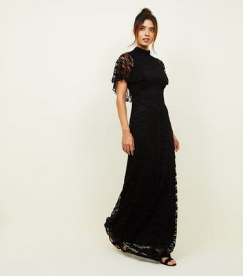 Mela Black High Neck Lace Maxi Dress