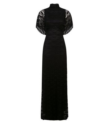 Mela Black High Neck Lace Maxi Dress New Look