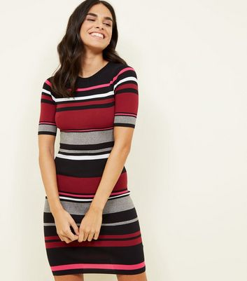 Multicolour Burgundy Block Stripe Ribbed Bodycon Dress