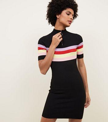 Black Stripe Zip Funnel Neck Mini Dress New Look