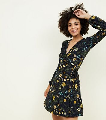 Blue Vanilla Navy Ditsy Floral Wrap Dress