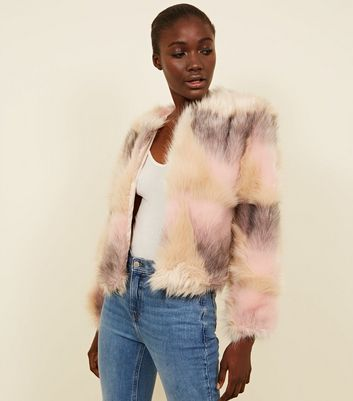 Pink Faux Fur Patchwork Coat