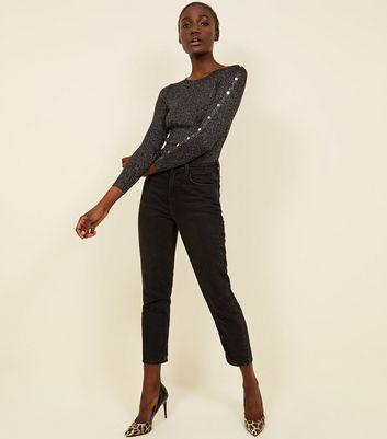 Pink Vanilla Black Glitter Button Sleeve Jumper New Look