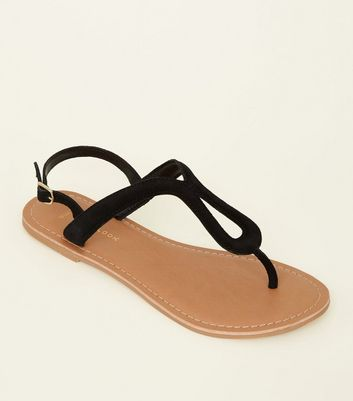 Wide Fit Black Suede Loop Strap Sandals