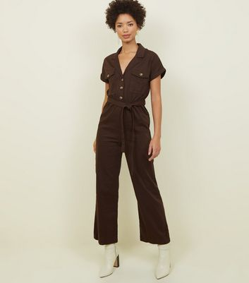 Dark Brown Denim Culotte Jumpsuit by New Look
