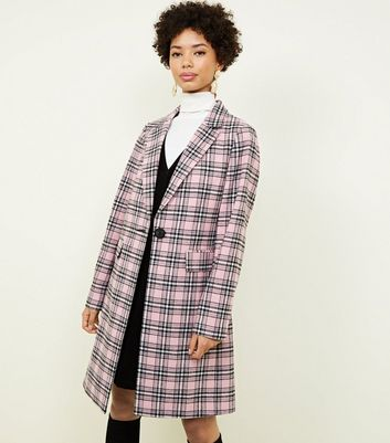 Pink Check Revere Collar Longline Coat