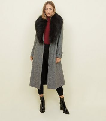 Black Houndstooth Faux Fur Collar Maxi Coat