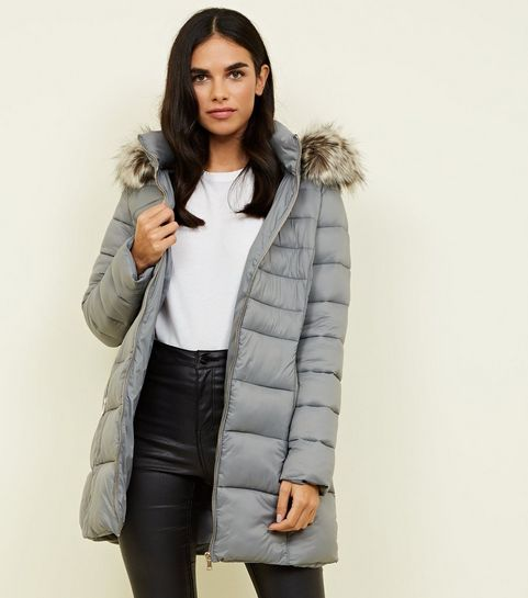 7412645fbb88c ... Grey Removable Hood Belted Longline Puffer Coat ...