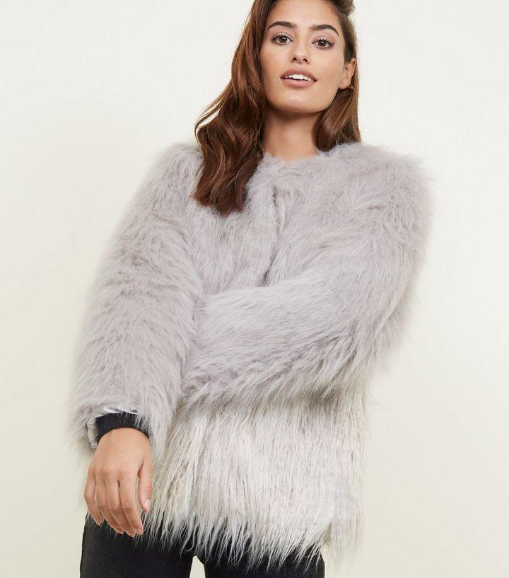 2fc1c81661f Light Grey Colour Block Faux Fur Coat