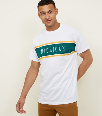 White Michigan Embroidered Panel T-Shirt