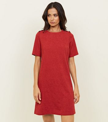 Red Cross Hatch Button Shoulder Tunic Dress