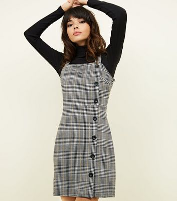 Grey Houndstooth Check Button Side Pinafore Dress