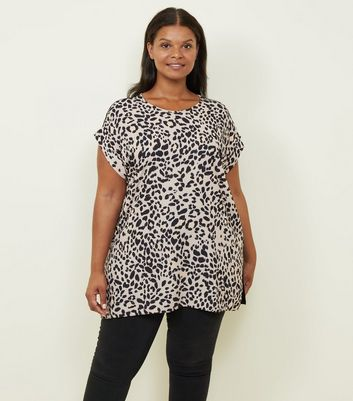 Curves Brown Leopard Woven Front T-Shirt