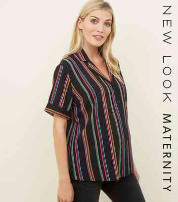 996b0aabd6d Maternity Black Rainbow Stripe Short Sleeve Shirt ...