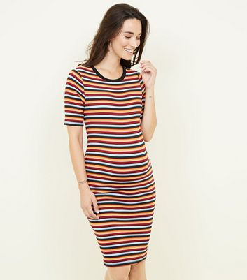 Maternity Multicolour Stripe Ribbed Bodycon Dress