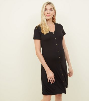 Maternity Black Button Front Tea Dress