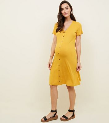 Maternity Yellow Button Through Tea Dress