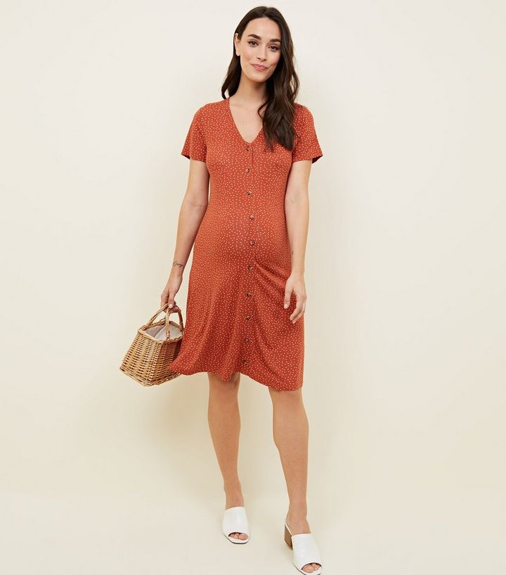 e45a859a4f5 Maternity Spot Print Button Through Tea Dress