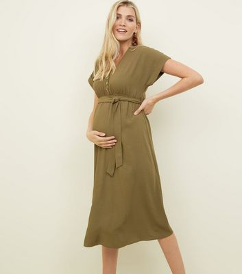 Maternity Khaki Linen-Look Button Front Midi Dress