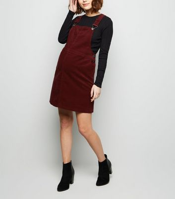Maternity Burgundy Front Pocket Buckle Pinafore Dress