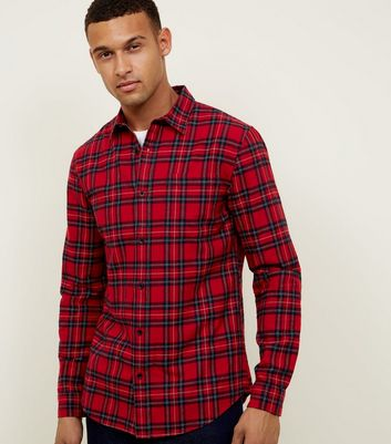Red Check Tartan Long Sleeve Shirt