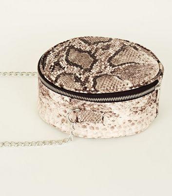 Black Faux Snake Round Shoulder Bag New Look