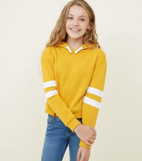 d43e197e480 Girls Mustard Stripe Sleeve Hoodie · Girls Mustard Stripe Sleeve Hoodie ...