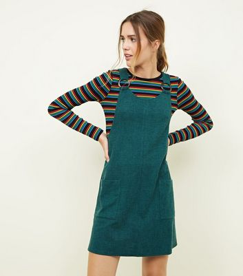 Dark Green Round Buckle Cross Hatch Pinafore Dress