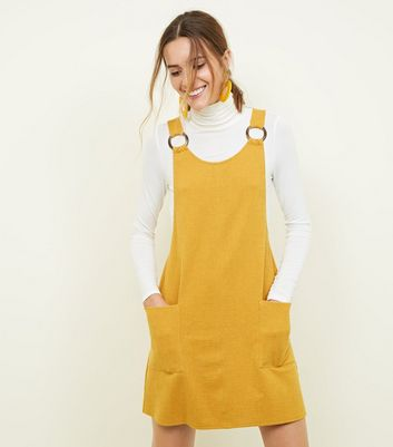 Mustard Round Buckle Pinafore Dress