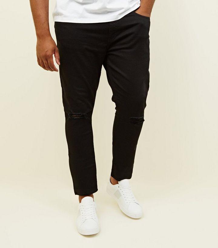 d827f08e688 Plus Size Black Ripped Knee Skinny Jeans