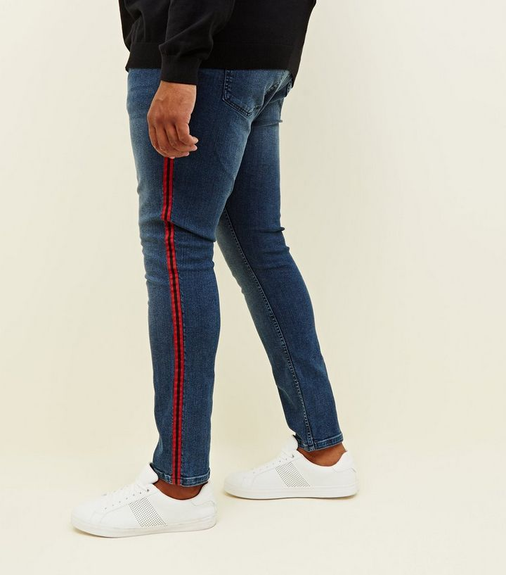 a5b25f51bca8 Plus Size Red Tape Side Stripe Skinny Jeans | New Look
