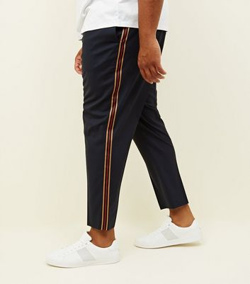 Plus Size Navy Side Tape Slim Fit Trousers
