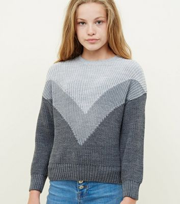 Girls Grey Chevron Knit Jumper