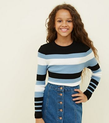 Girls Pale Blue Stripe Ribbed Jumper