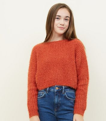 Girls Orange Fluffy Chenille Jumper