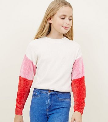 Girls Cream Chenille Colour Block Sleeve Jumper