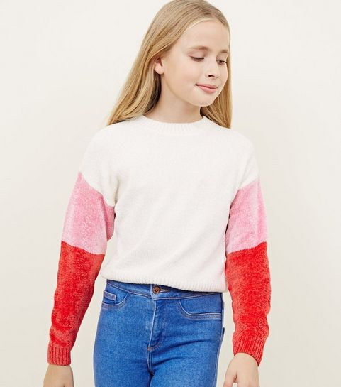 f0b22469d19b ... Girls Cream Chenille Colour Block Sleeve Jumper ...