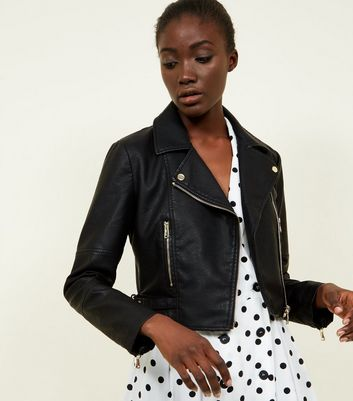 Black Cropped Leather-Look Jacket